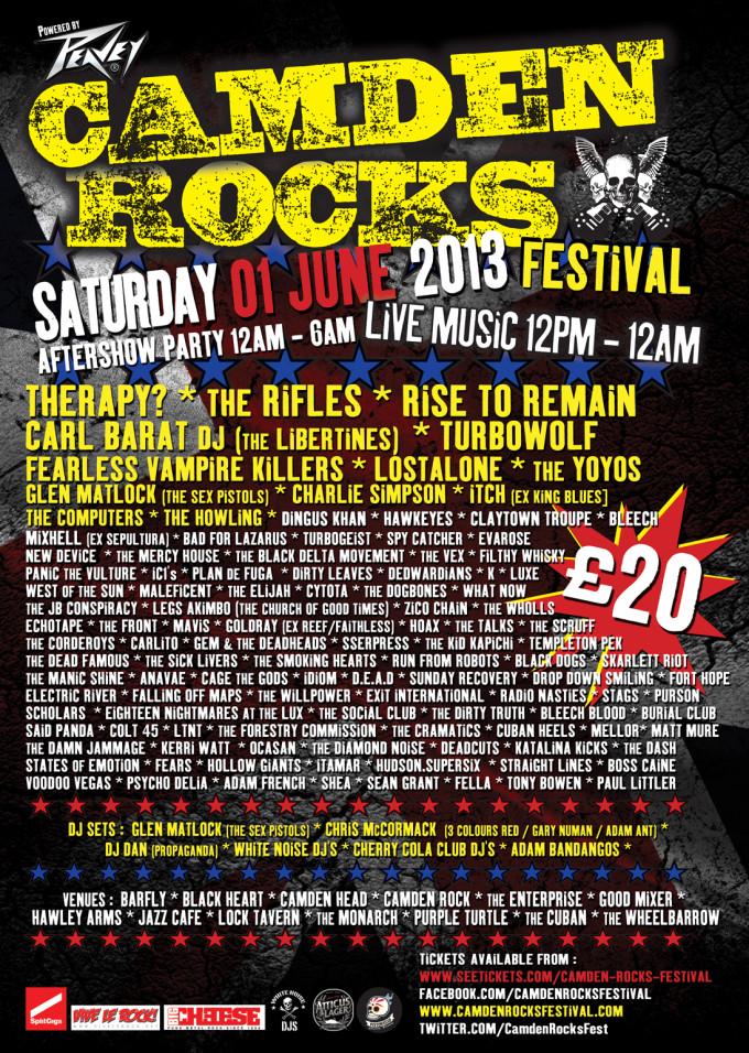 Camden Rocks 2013 Final Poster